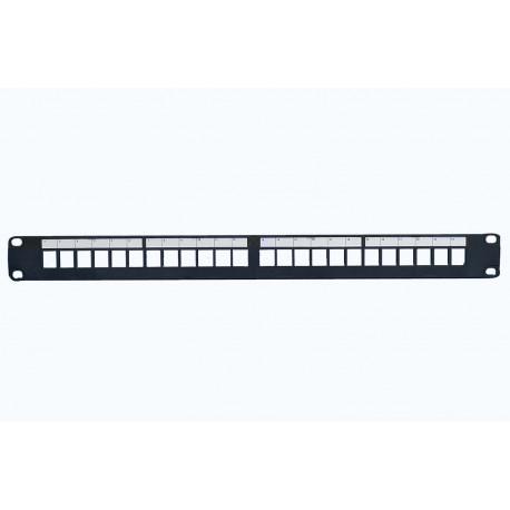 24 PORT PATCH PANEL PRO FOR STP KEYSTONE SORT M/TEKSTVINDUE