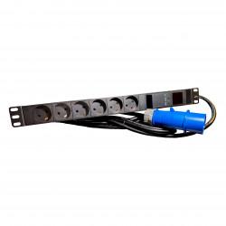 """STRØMPANEL 6X230V+J+IEC60309PL. 16A. SORT 19"""" AMP METER. 4 M LEDNING"""